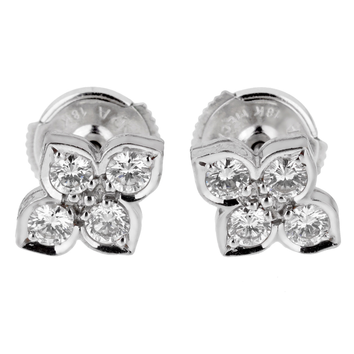 Cartier Flower Diamond White Gold Stud Earrings - Cartier Jewelry