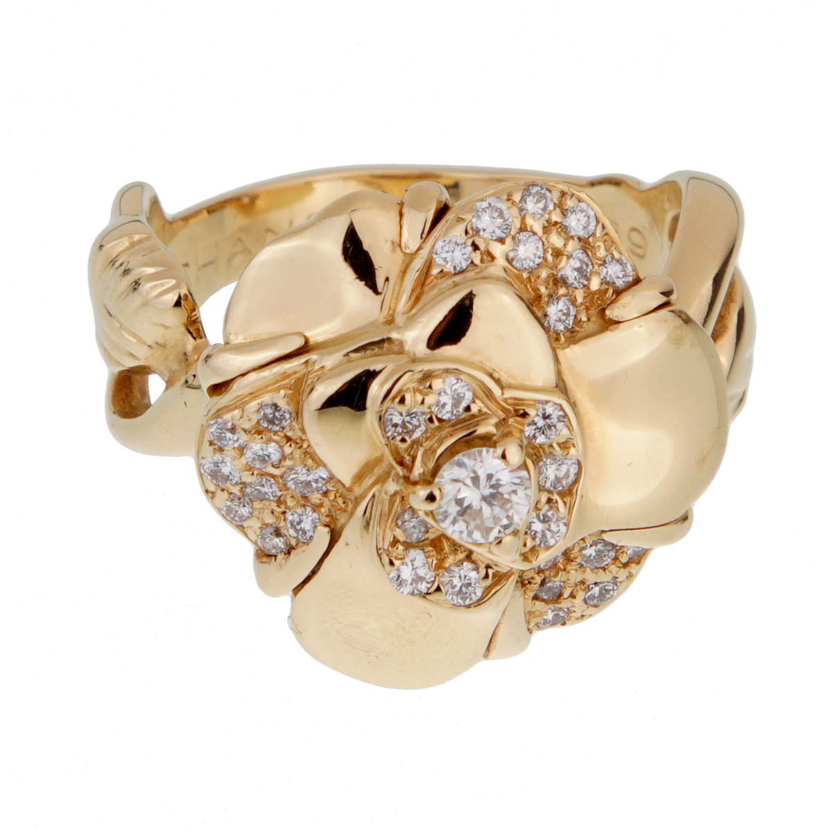 Chanel Camellia Yellow Gold Diamond Ring - Chanel Jewelry