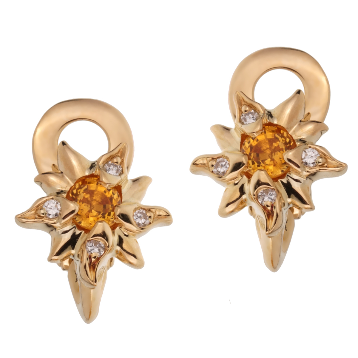Chanel Comete Yellow Sapphire Diamond Gold Earrings - Chanel Jewelry