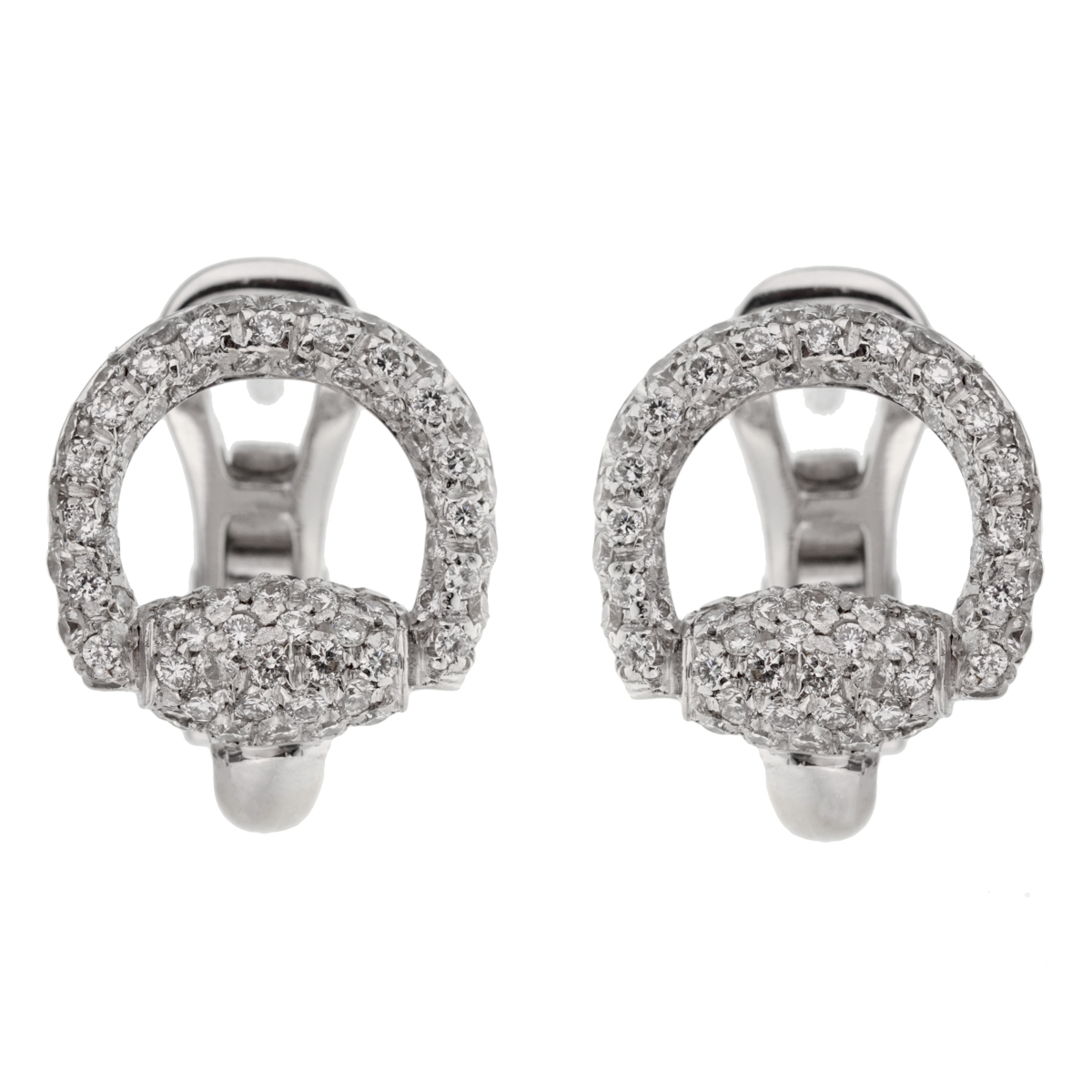 Gucci Horsebit Diamond White Gold Earrings - Gucci Jewelry