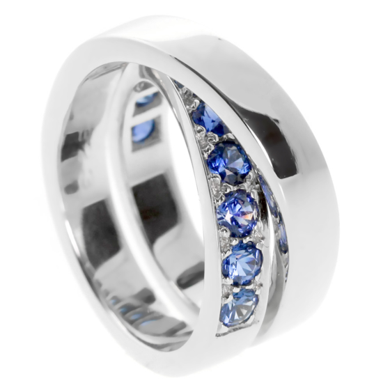 Cartier Sapphire Bypass White Gold Ring