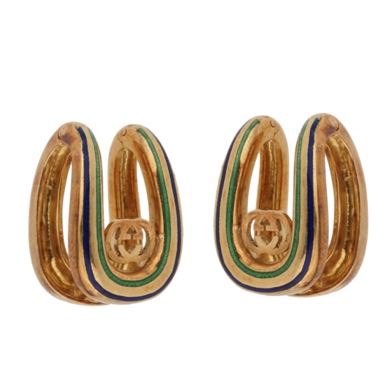 Gucci Vintage Enamel 18k Yellow Gold Cufflinks