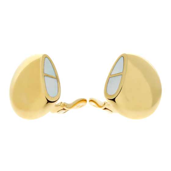 Hermes Mother of Pearl 18k Yellow Gold Earrings