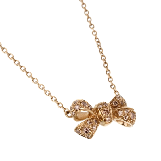 Pomellato Fancy Diamond Bow Yellow Gold Necklace