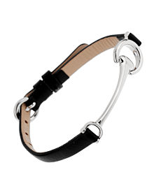 Ladies White Gold Black Leather Horsebit Bracelet