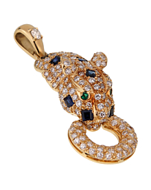 Adler Panther Diamond Sapphire Gold Pendant - Estate Jewelry