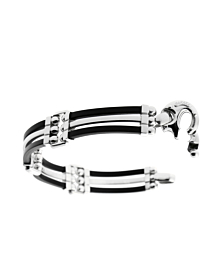 Mens Baraka White Gold and Rubber Bracelet - Baraka Jewelry