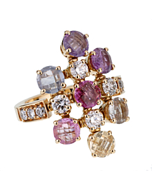 Bulgari Multi Gemstone Diamond Yellow Gold Ring - Bulgari Jewelry