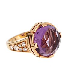 Bulgari Parentesi Rose Gold Amethyst Diamond Ring