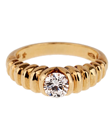 Bulgari Diamond Solitaire Gold Vintage Ring - Bulgari Jewelry