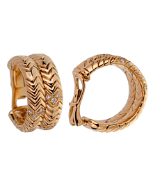 Bulgari Spiga Yellow Gold Diamond Earrings - Bulgari Jewelry