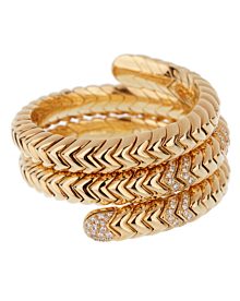 Bulgari Spiga Triple Row Diamond Yellow Gold Cuff