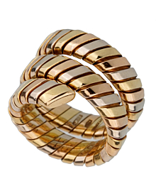 Bulgari Tubogas Tricolor Gold Ring - Bulgari Jewelry