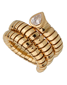 Bulgari Tubogas Pear Diamond Yellow Gold Ring - Bulgari Jewelry
