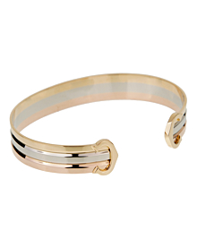 Cartier C De Cartier White Yellow Rose Gold Cuff Bracelet - Cartier Jewelry