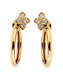 Cartier Flower Hoop Diamond Yellow Gold Earrings 18kt - Cartier Jewelry