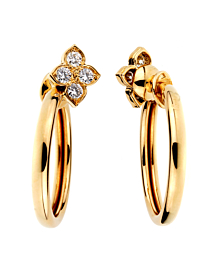 Cartier Flower Hoop Diamond Yellow Gold Earrings 18kt