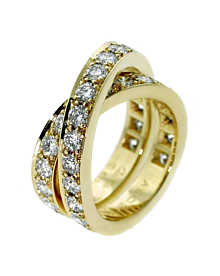 Cartier Nouvelle Vague Diamond Bypass Gold Ring - Cartier Jewelry