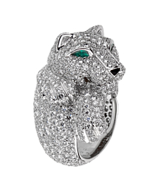 Cartier Panthere Pave Diamond Emerald White Gold Ring - Cartier Jewelry