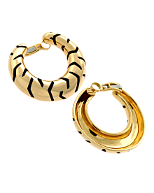 Cartier Tiger Stripe Gold Hoop Enamel Earrings - Cartier Jewelry