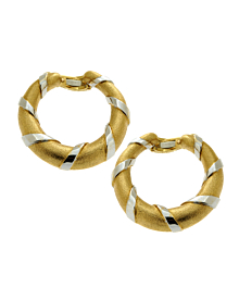 Cartier Paris Gold Hoop 18k Gold Two Tone Earrings - Cartier Jewelry