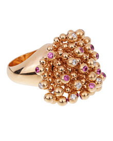 Cartier Paris Nouvelle Vague Pink Sapphire Diamond Rose Gold Ring - Cartier Jewelry