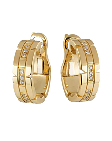 Cartier Tank Francaise Diamond Hoop Gold Earrings - Cartier Jewelry