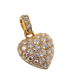 Cartier Yellow Gold Diamond Heart Pendant Necklace - Cartier Jewelry