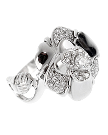 Chanel Camelia White Gold Diamond Ring - Chanel Jewelry