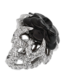 Chanel Camelia Diamond Onyx White Gold Ring