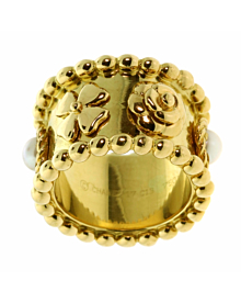 Chanel Camellia Pearl Gold Ring - Chanel Jewelry