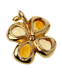 Chanel Citrine Gold Clover Pendant Necklace - Chanel Jewelry