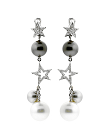 Chanel Comete Diamond Pearl Drop Gold Earrings - Chanel Jewelry