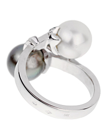Chanel Diamond Pearl Bypass White Gold Ring - Chanel Jewelry