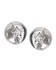Chanel Comete Rock Crystal Diamond 18k White Gold Stud Earrings