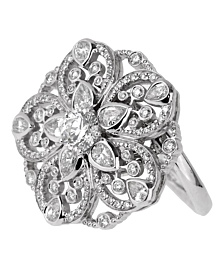 Chanel Diamond Flower Cocktail White Gold Ring - Chanel Jewelry