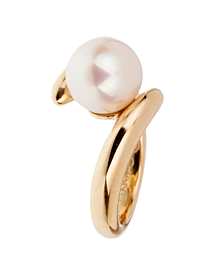 Chanel Pearl Bypass Yellow Gold Ring - Chanel Jewelry
