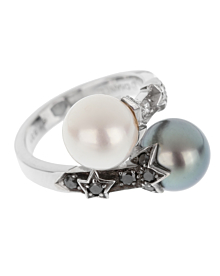 Chanel Pearl Bypass White Gold Ring - Chanel Jewelry