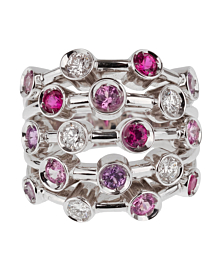 Chanel Pink Sapphire Diamond White Gold Ring