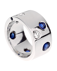 Chanel Sapphire Diamond White Gold Band Ring - Chanel Jewelry