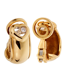 Chopard Happy Diamond Heart Hoop Yellow Gold Earrings - Chopard Jewelry