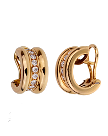 Chopard Diamond Yellow Gold Hoop Earrings
