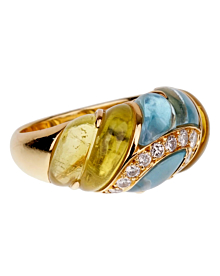 Christian Dior Lemon Quartz Blue Topaz Cocktail Gold Ring - Dior Jewelry
