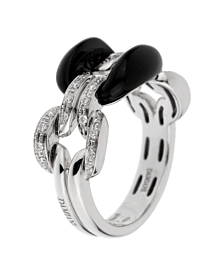 Damiani Lace White Gold Diamond Onyx Ring - Damiani Jewelry