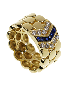 Dior Diamond Sapphire Yellow Gold Band Ring - Dior Jewelry