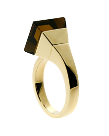 Gucci Chiodo Smokey Quartz Gold Ring - Gucci Jewelry