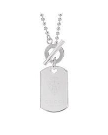 Gucci Crest Dog Tag Silver Necklace - Gucci Jewelry