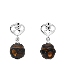 Gucci Heart Double G Bamboo Silver Earrings - Gucci Jewelry