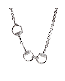 Gucci Horsebit Long Diamond White Gold Necklace - Gucci Jewelry