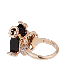 Gucci Horsebit Onyx Diamond Rose Gold Ring - Gucci Jewelry